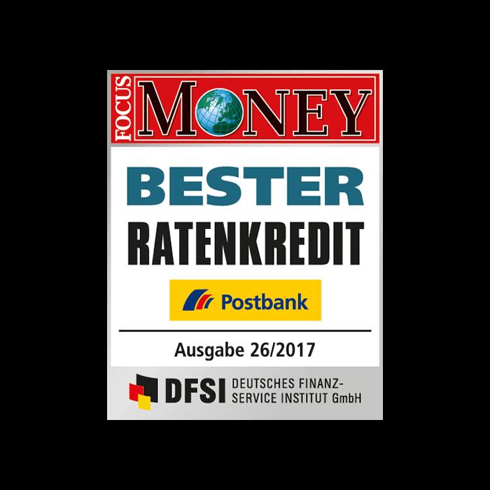 Postbank – Bester Ratenkredit laut FOCUS MONEY