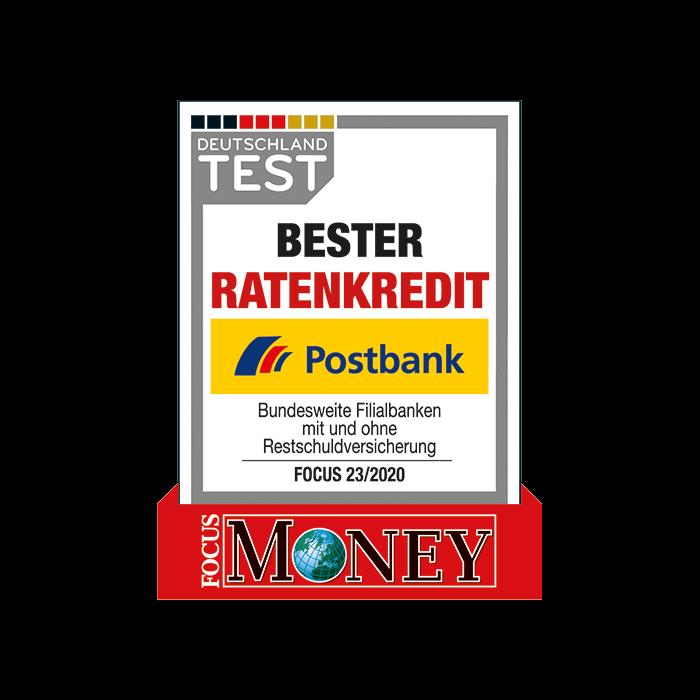 Postbank – erneut Bester Ratenkredit laut FOCUS-MONEY