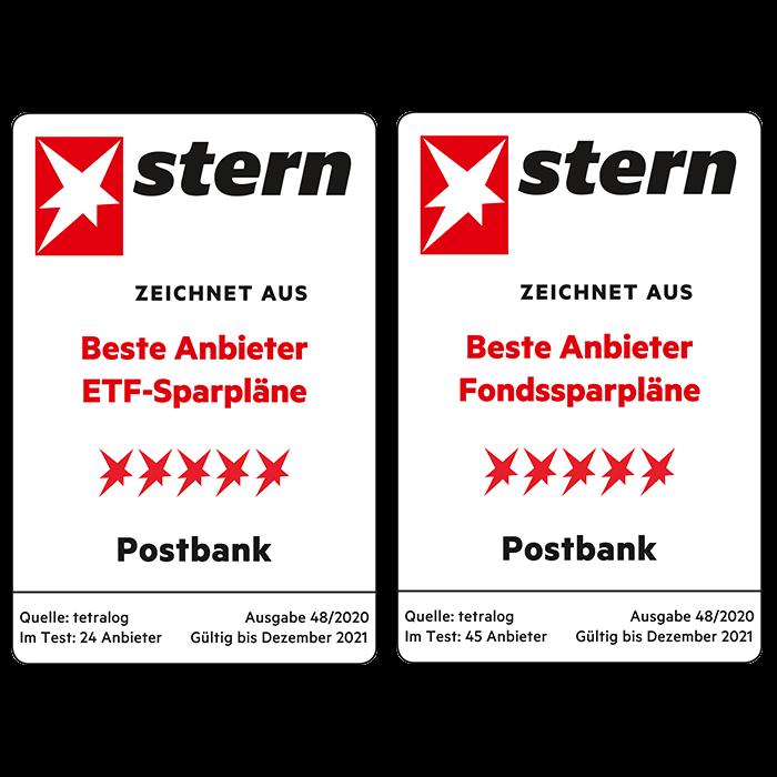 Stern zeichnet Postbank als einen der besten Anbieter für ETF- und Fondssparpläne aus