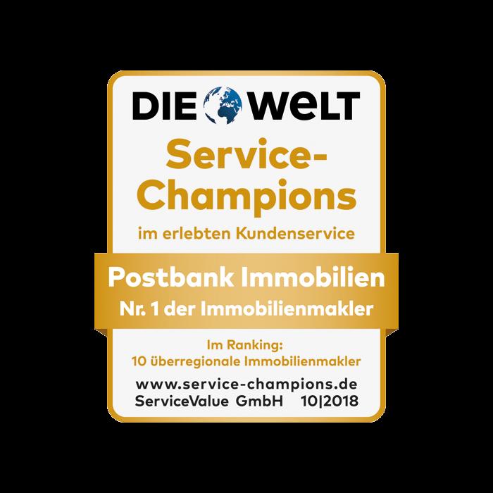 Postbank Immobilien ausgezeichnet als Service-Champion 2018