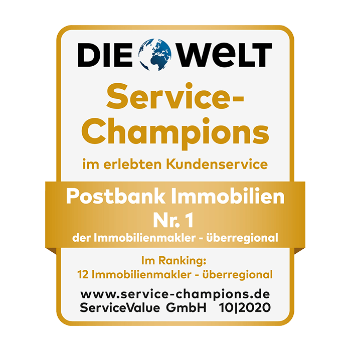Postbank Immobilien ist Service-Champion 2020