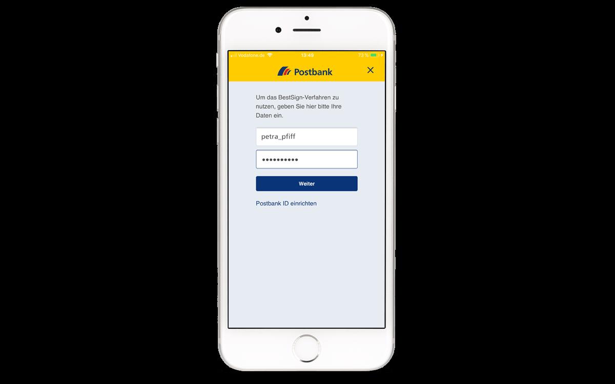 BestSign App aktivieren - Postbank ID und Passwort eingeben