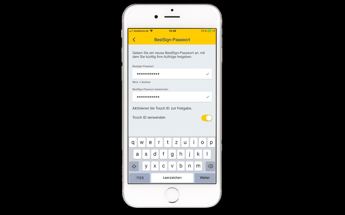 BestSign App aktivieren - Passwort festlegen