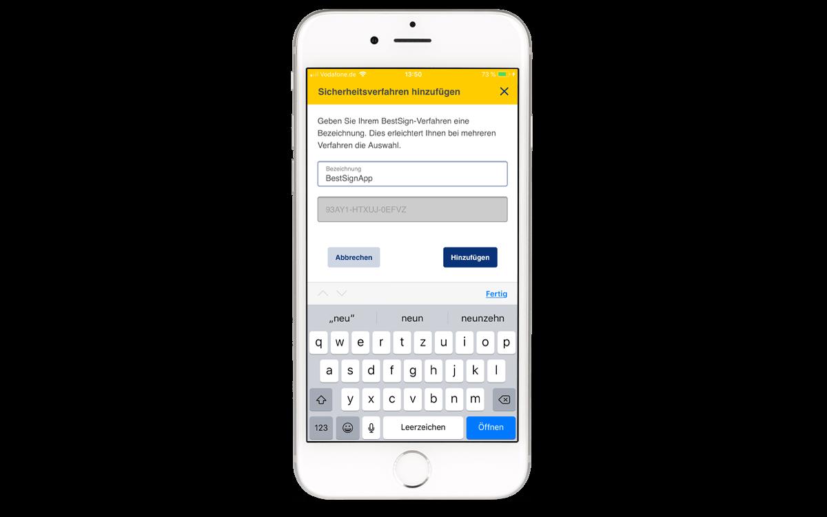 BestSign App aktivieren - Sicherheitsverfahren hinzufügen