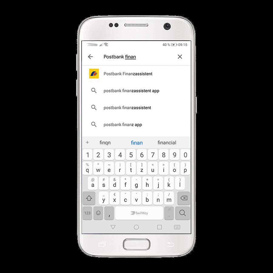 Geben Sie in der Suche (Suchfeld befindet sich im oberen Bereich) den Namen Ihrer Postbank App (z. B. BestSign App oder Postbank Finanzassistent) ein.
