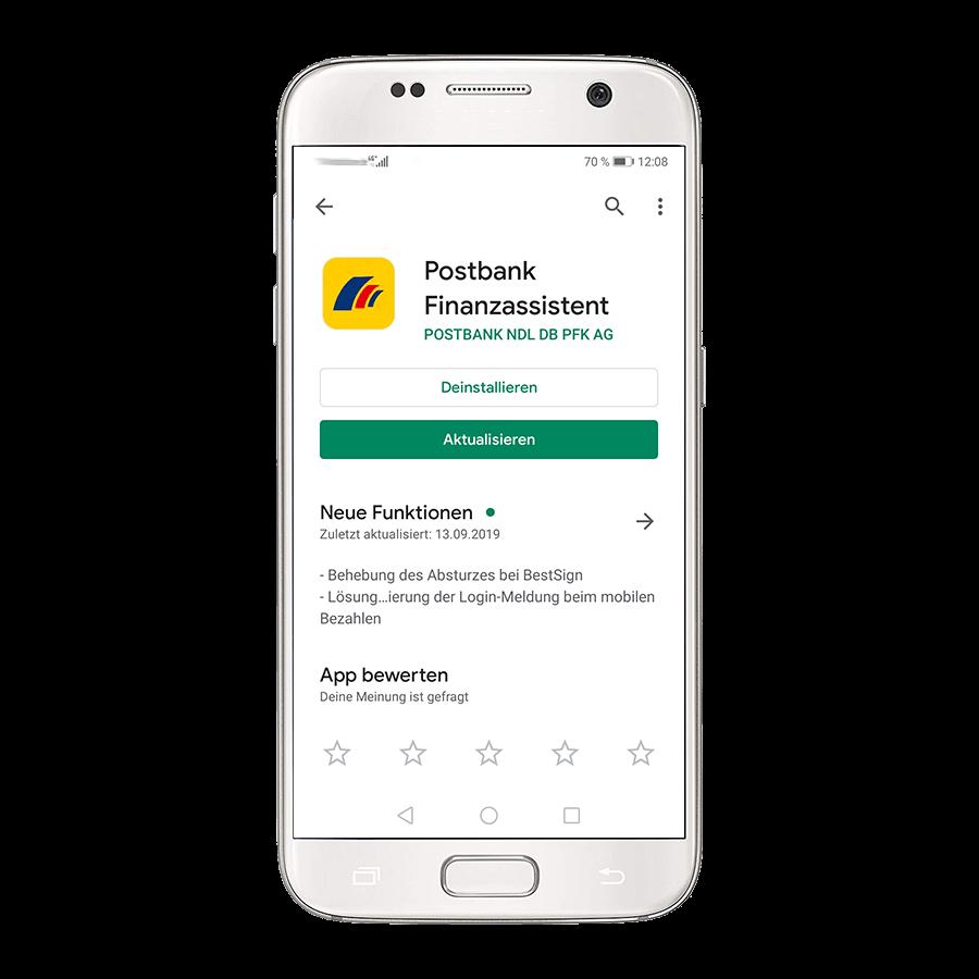 """Mit Tap auf das Download-Symbol bzw. den Button """"Aktualisieren"""" starten Sie die das Update auf Ihrem Smartphone oder Tablet."""