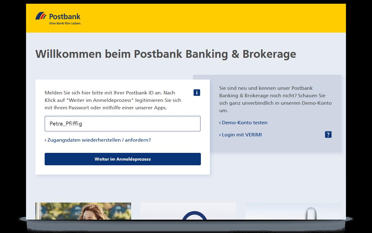 Anmeldung im Postbank Banking & Brokerage