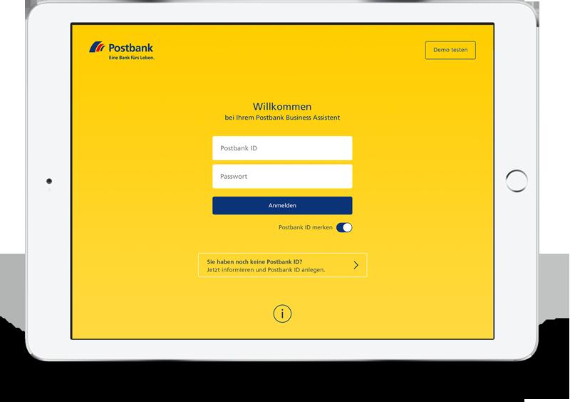 Anmeldung zum Postbank Business Assistenten