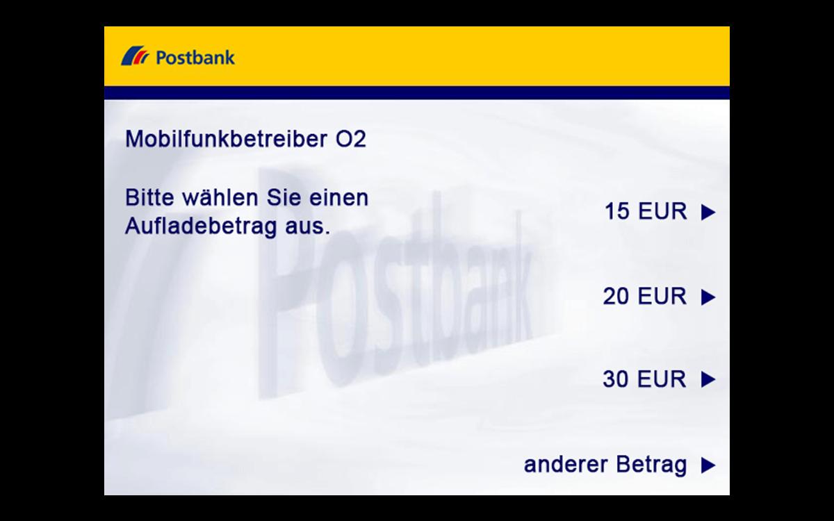 Geldautomat - Prepaid-Handy - Aufladebetrag wählen