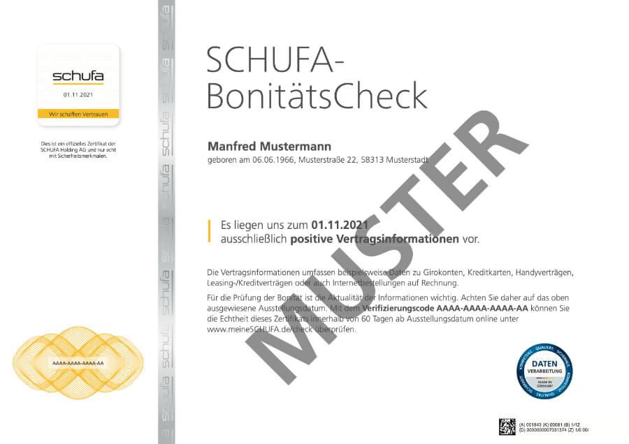 Beispiel SCHUFA-BonitätsCheck