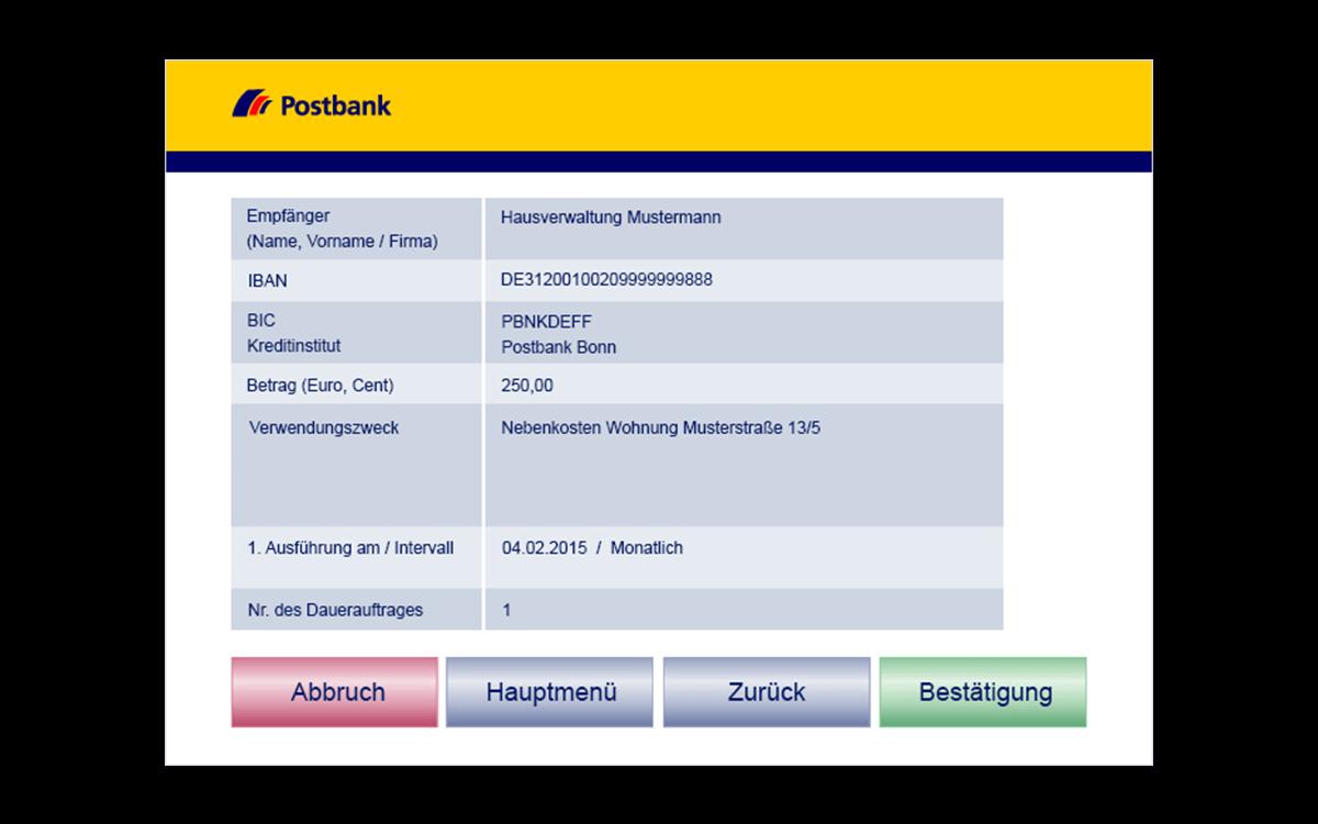Service-Terminals - Dauerauftrag - Bestätigung