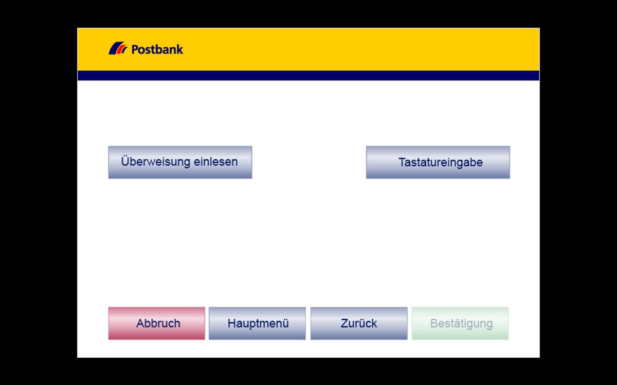Service-Terminals - Überweisung - Dateneingabe wählen