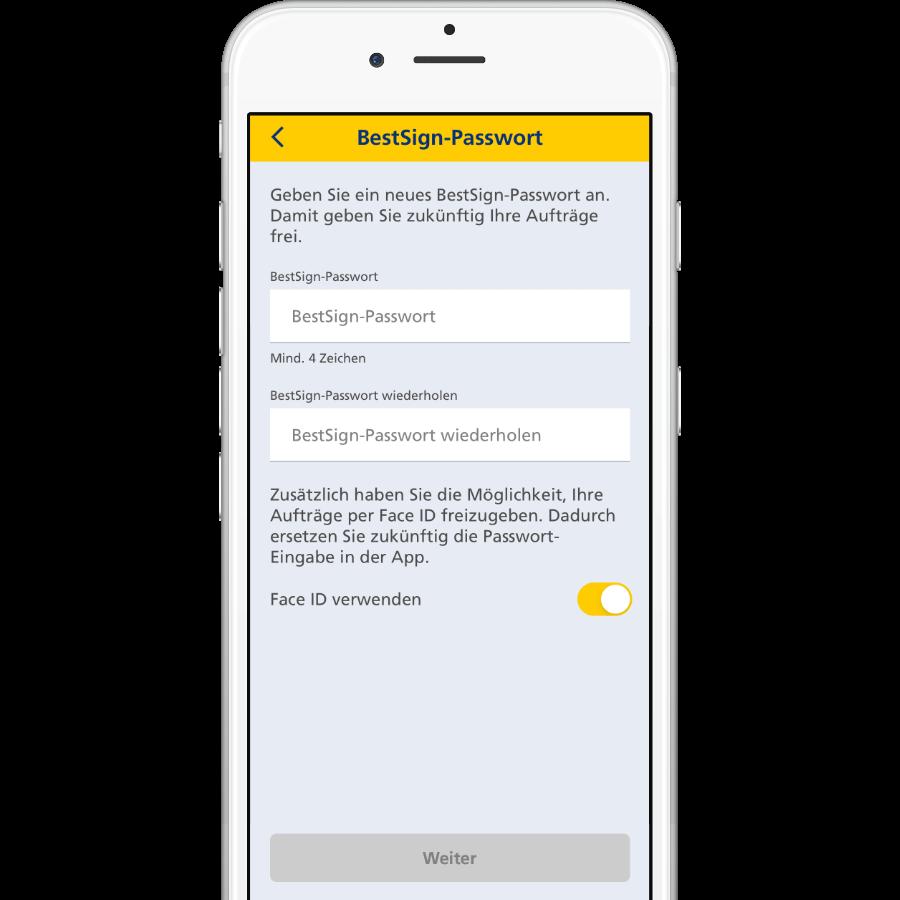 BestSign Passwort vergeben & Freigabeoption wählen
