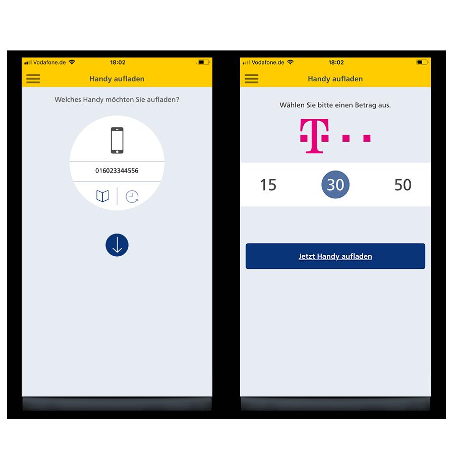 Handy-Aufladung über den Finanzassistent