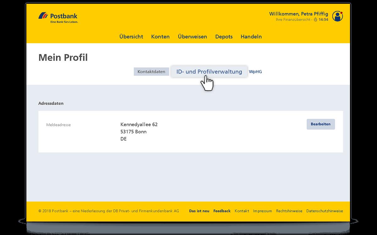 """""""ID- und Profilverwaltung"""" auswählen"""