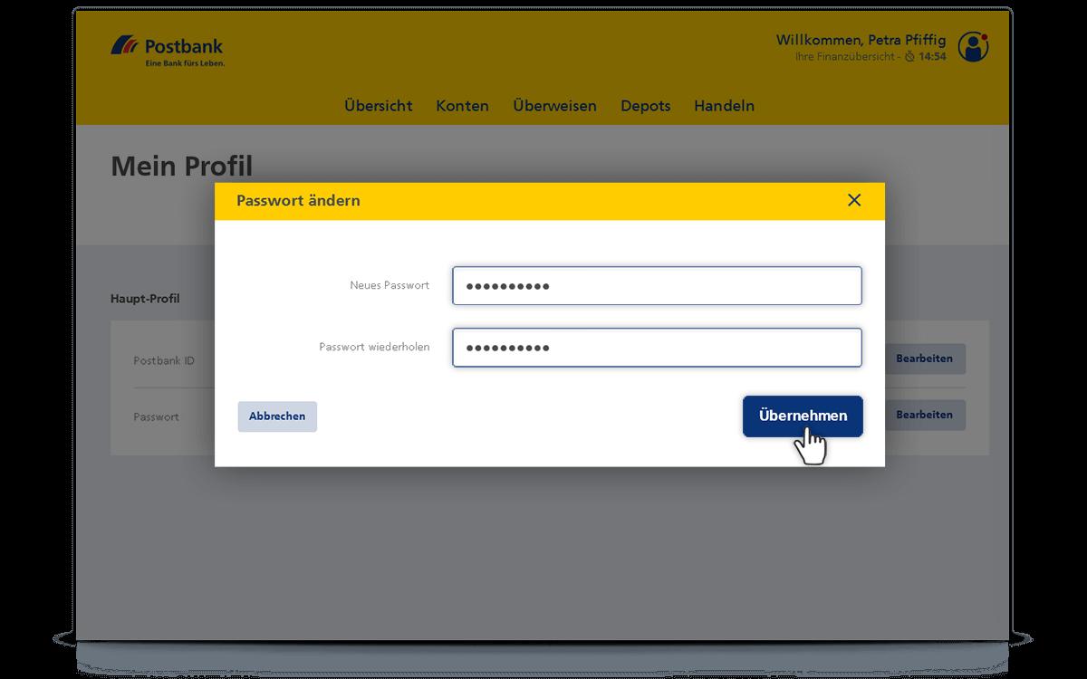 Neues Passwort eingeben