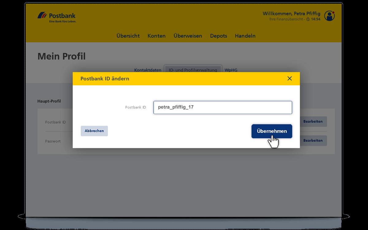 Postbank ID ändern | Postbank