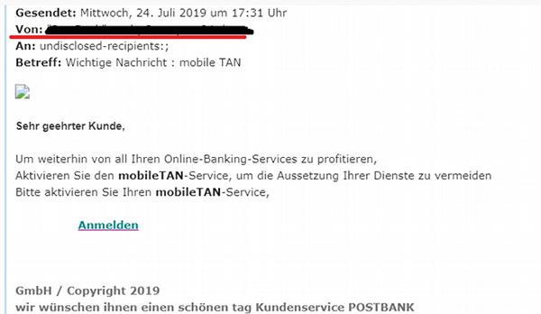 "Phishingmail zu ""Aktivierung des mobileTan-Service"""
