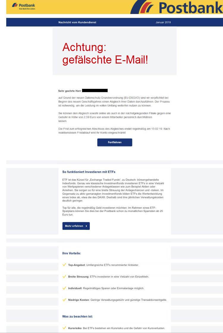 Sicherheitshinweise - Vorsicht vor gefälschten Postbank-Newslettern