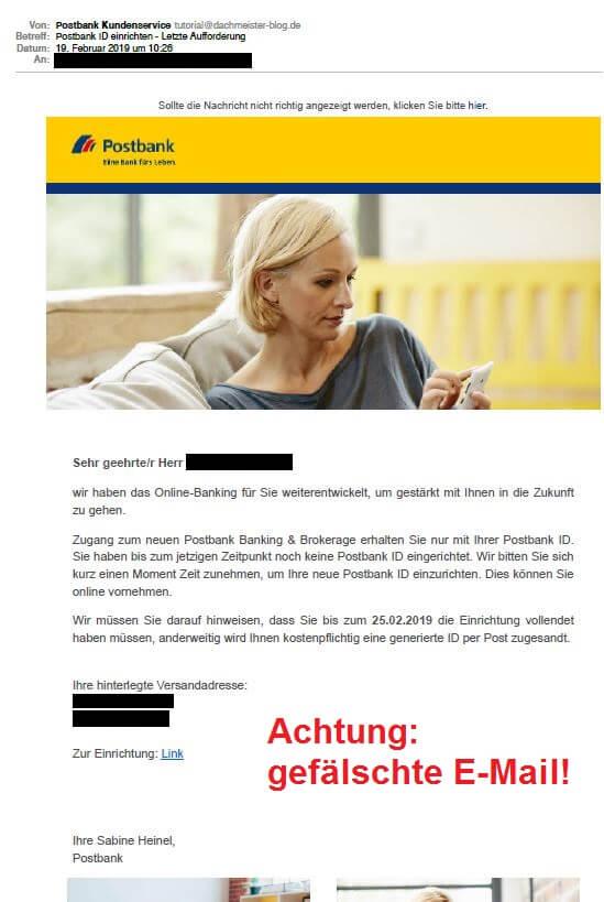 Betrüger versenden gefälschte E-Mails zur Einrichtung Ihrer Postbank ID