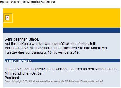 """Phishing-Mails zur vermeintlichen """"Aktivierung von MobileTAN"""""""