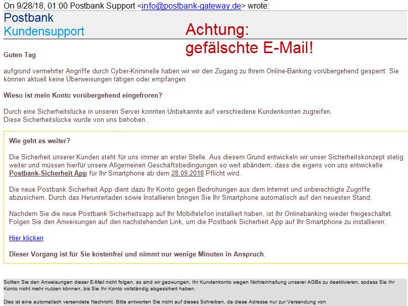 Sicherheitshinweise - Phishing-Mail zu angeblicher Sicherheits-App bringt Schadsoftware auf Ihr Mobiltelefon