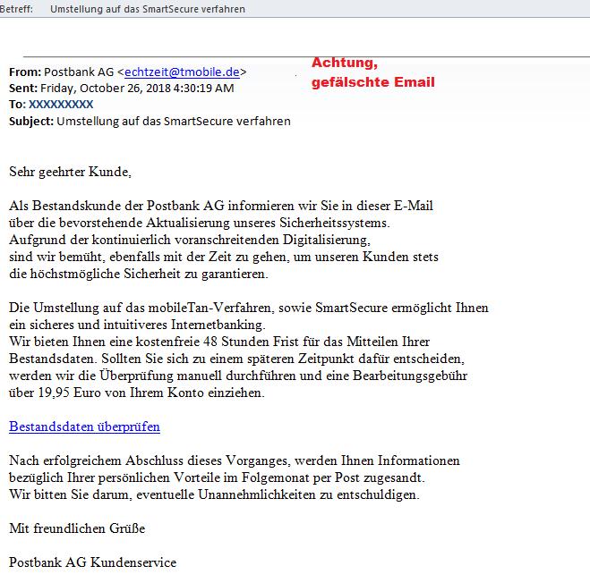 Sicherheitshinweise - Phishingmails zu angeblicher Umstellung auf SmartSecure