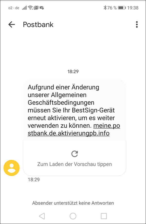 Gefälschte SMS zur angeblichen erneuten Aktivierung von BestSign