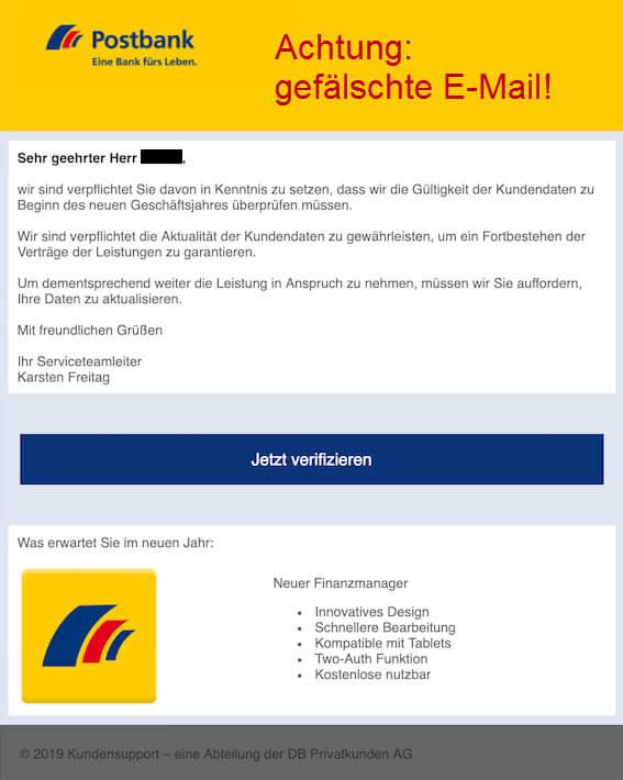 Sicherheitshinweis - Die Postbank fragt niemals nach einer Verifizierung Ihrer Daten - Aktuelles Beispiel