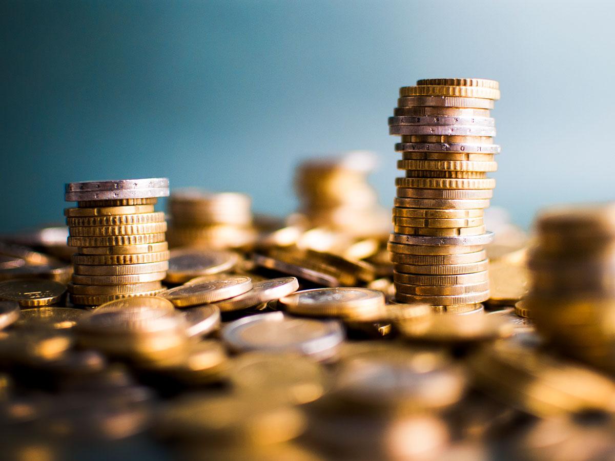 Geld Münzen Stapel Rechner