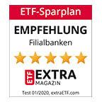 """Im ETF-Sparplantest des ETF EXTRA Magazins 01/2020 erhält die Postbank als einzige Filialbank die Auszeichnung """"Empfehlung"""" mit 5 von 5 Sternen."""