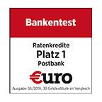 Postbank - Platz 1 Bankentest Ratenkredit