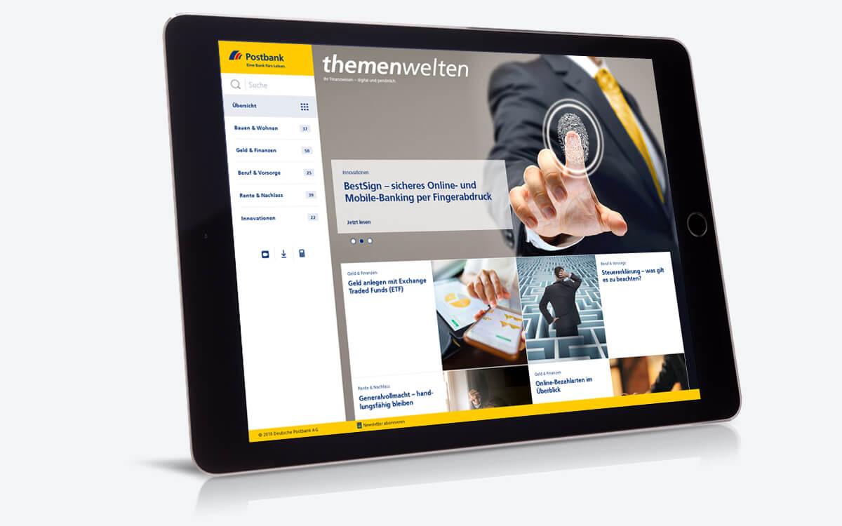 Tablet zeigt themenwelten  Postbank  Wissenswertes rund um  Finanzen