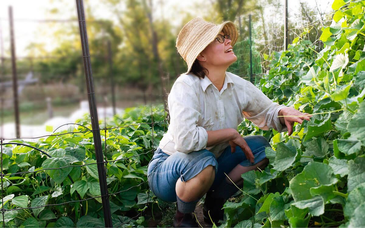 Frau im Garten investiert nachhaltig mit Postbank Wachstumsfonds