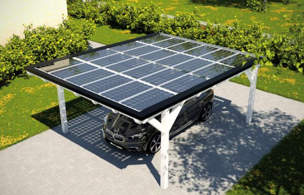 Ein echter Hingucker: Photovoltaik auf dem Carport Bild Nr. 6244, Quelle: www.solarcarporte.de/BHW Bausparkasse